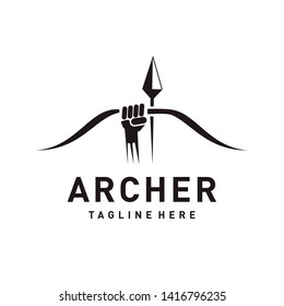 Archer logo design / Illustration with hand, arrow and bow