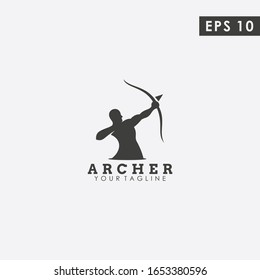 Archer Logo Design Vector Template With Flat Style. Modern Design. Archer Logo. Vector Illustration,