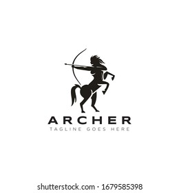 archer logo, with woman centaur vector