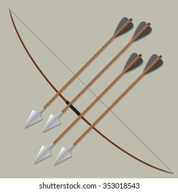 Archer long wood bow with arrows