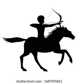 Archer on Horse Silhouette Vector Illustration for war scenes