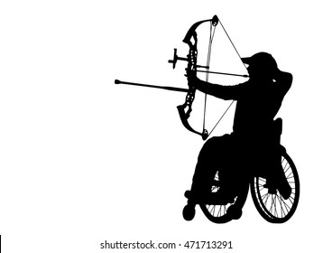 Archer on the Wheelchair, silhouette on white background