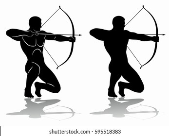 archer silhouette, black and white drawing, white background