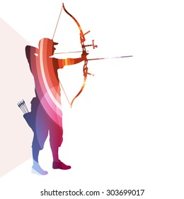 Archer training bow man silhouette illustration vector background colorful concept made of transparent curved shapes