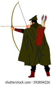 Archer vector illustration isolated on white background. Robin Hood vector. Traditional hunter in hunting.