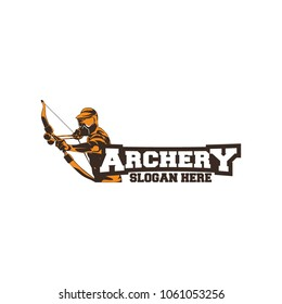 Archer wearing Helmet Logo Designs concept, Archery Silhouette Logo designs vector, Archer Sport logo