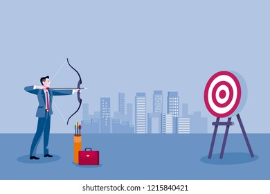 Archery and business man. Business man aiming at the target. Concept business vector illustration.