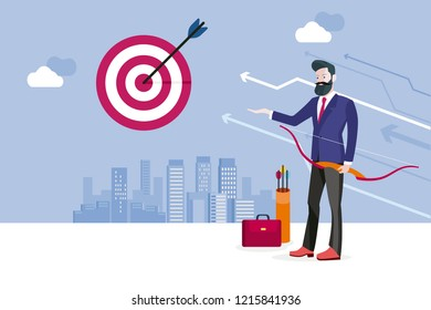 Archery and business man. Business man hitting his target. Concept business success vector illustration.