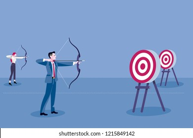 Archery and business people. Gender discrimination concept. Female discrimination at work to achieve their goals.