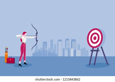 Archery and business woman. Business woman aiming at the target. Concept business vector illustration.