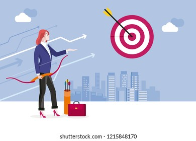 Archery and business woman. Business woman hitting her target. Concept business success vector illustration.