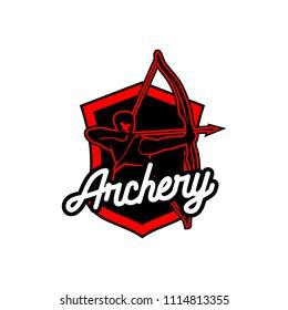 Archery design logo template. Arrow and bow sport vector illustration