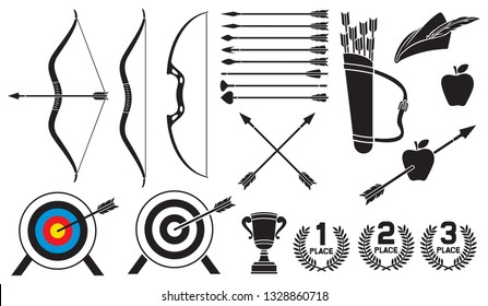 Archery icons set (trophy cup, Robin Hood hat, leather quiver, bow and arrow, pierced apple, target)