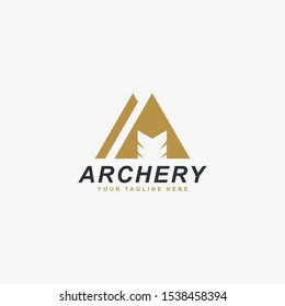 Archery logo design vector. Letter M and bow abstract symbol. Archery sport vector icon.