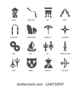 Archery, Shuriken, Umbrella, Knife, Oriental pearl tower, Ninja, Nunchaku, Coin, Chinese, Panda, Pot icon 16 set EPS 10 vector format. Icons optimized for both large and small resolutions.
