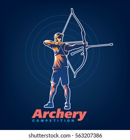 Archery. Sport emblem on the black background