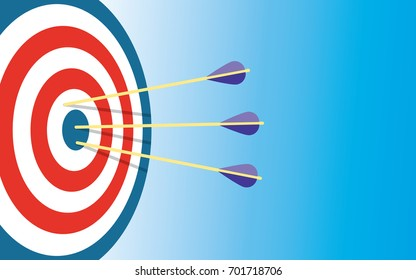 Archery Target With 3 Arrows Dart arrow hitting center target on blue background, flat vector illustration