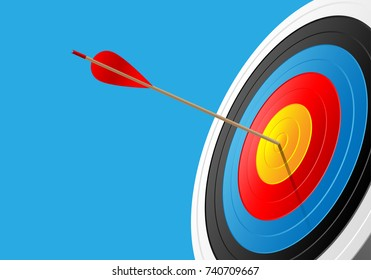 Archery target and arrow 3D on blue isolated design for sport game and business vector background illustration.