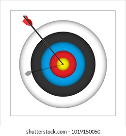 Archery target with arrow. Vector illustration.