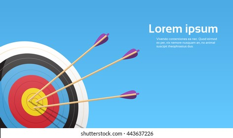 Archery Target With Arrows Archer Sport Game Competition Colorful Banner With Copy Space Vector Illustration