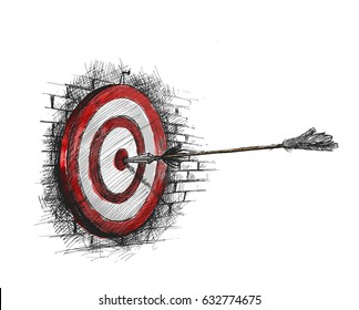 Archery Target With Arrows Archer Sport Game Competition, Hand Drawn Sketch Vector Background.