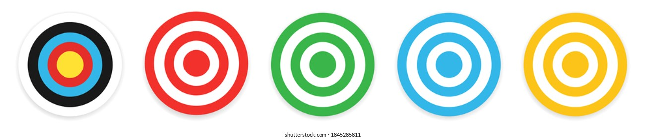 Archery target collection. Isolated bullseye dartboard on white background. Success symbol for business competition. Aim center. Target aiming in blue, red, green and yellow. Vector EPS 10
