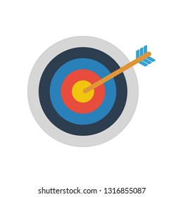 archery target icon in flat style isolated vector illustration on white transparent background
