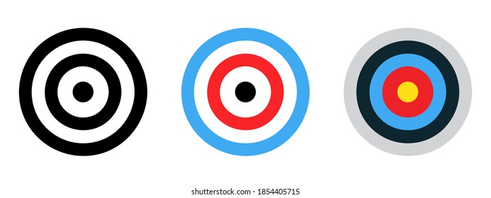 Archery target set. Shoting target set. Set of targets at white background. Concept of archery or reaching the goal in business. Vector illustration. Target icon vector. Arrow icon. Goal sign. EPS 10