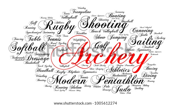 Archery Word Cloud Elegant Cursive Font Stock Vector