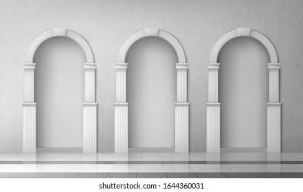 Arches with columns in wall, interior gates with white pillars in palace or castle, archway frames, portal entrance, antique alcove round doorway decoration element, Realistic 3d vector illustration