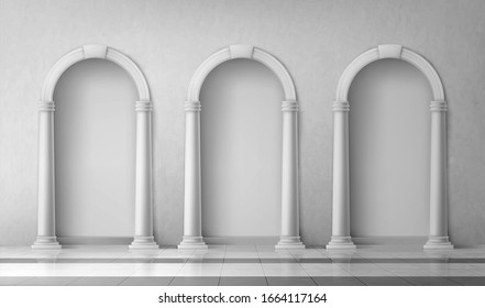 Arches with columns in wall, interior gates with white pillars in palace or castle Realistic 3d vector mock up