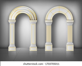 Arches with columns in wall, interior gates with white pillars and gold decoration in palace or castle. Archway frames, portal entrance, antique doorways or niches. Realistic 3d vector illustration