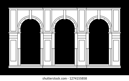 Arches. Part of european architecture. White vector silhouette.