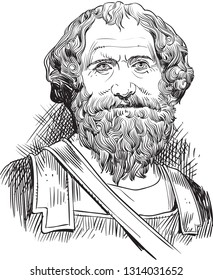 Archimedes (287-212 BC) portrait in line art illustration. He was a Greek mathematician, philosopher and inventor who wrote important works on geometry, arithmetic and mechanics.