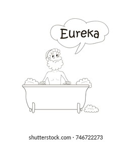 Archimedes bathing in bath . Eureka. Coloring pages, cartoon vector illustration
