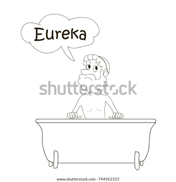 Archimedes Bathing Bath Eureka Coloring Pages Stock ...