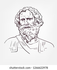Archimedes  famous vector sketch portrait