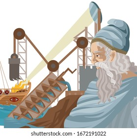 archimedes great ancient inventor with crane, heat ray lens and water screw