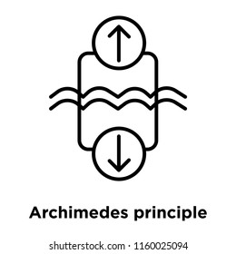 Archimedes principle icon vector isolated on white background, Archimedes principle transparent sign , sign and symbols in thin linear outline style