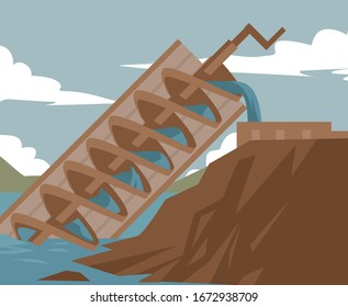archimedes screw irrigation water system invention