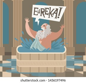 archimedes of syracusa ancient genius mathematician inventor saying eureka in the bath