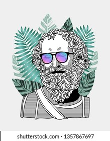 Archimedes. Vector illustration hand drawn. Hipster portrait with glasses and tropical leaves. Summer style.