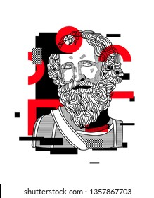 Archimedes. Vector illustration hand drawn. Glitch.