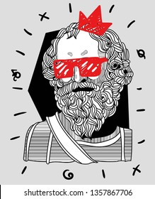 Archimedes. Vector illustration hand drawn. Crazy portrait.