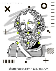 Archimedes. Vector illustration hand drawn. Modern geometric portraits with dots.