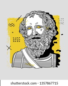 Archimedes. Vector illustration hand drawn. Creative geometric portrait.