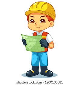 Architect Boy Look Into Working Plan.