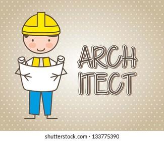 architect cartoon over beige background. vector illustration