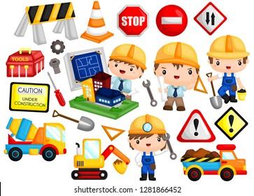 architect and construction job image set