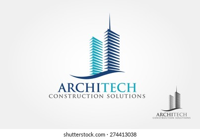 Architect Construction Solutions Vector Logo Template. Architect Construction Idea.
